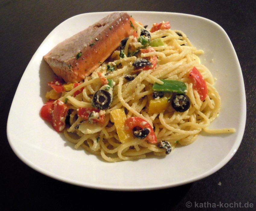 Gebratener Lachs auf Gemüse-Pasta