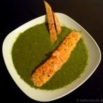 Pilz-Spinat Suppe mit zitronigem Lachs