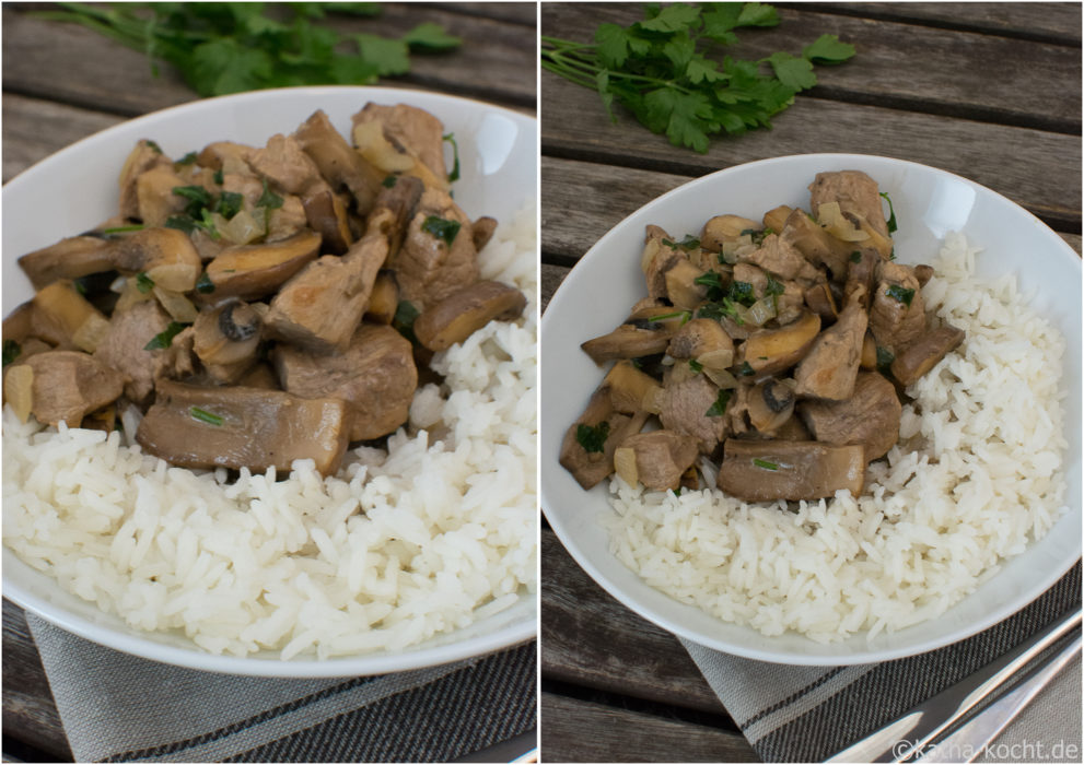 Sahnegeschnetzeltes mit Pilzen und Reis