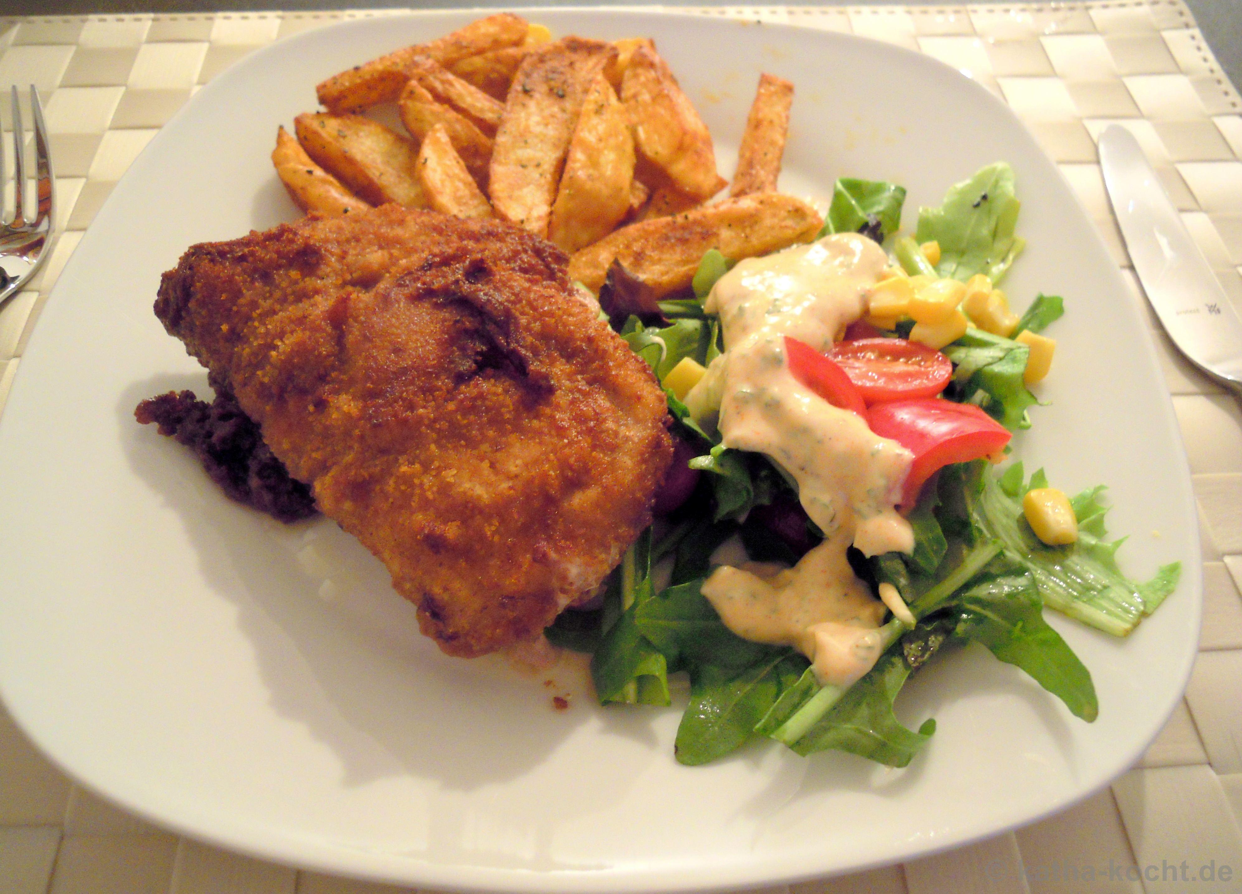 Selbstgemachtes Cordon Bleu Mit Pommes Und Salat Katha Kocht