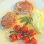 Saltimbocca vom Iberico mit Kartoffelpüree in Weißweinsauce