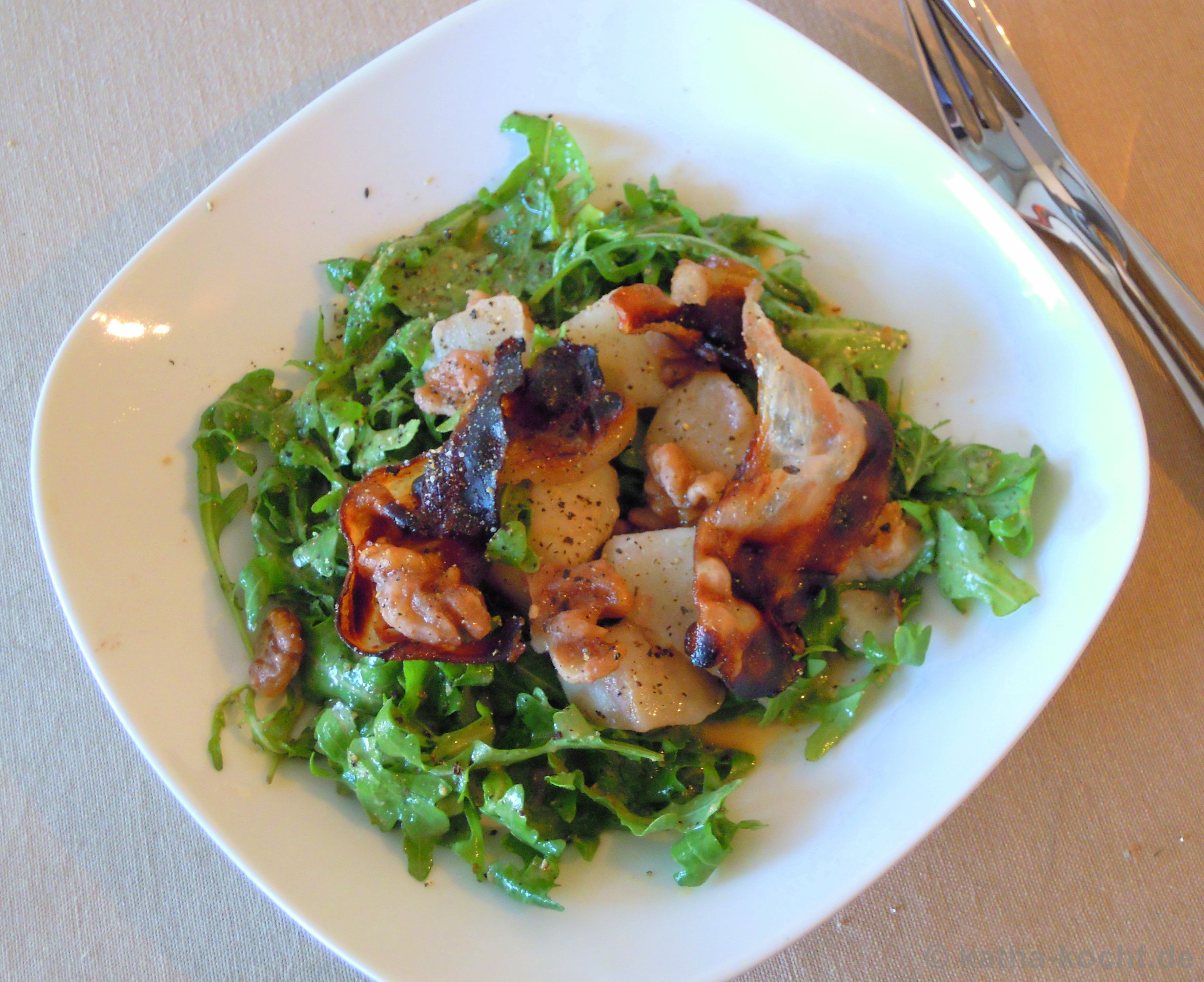 warmer birne pancetta salat mit senf dressing katha kocht. Black Bedroom Furniture Sets. Home Design Ideas