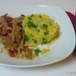 Geschmorte Lammschulter mit Couscous und orientalischen Dips