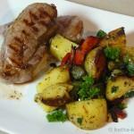 Frischlings-Steak mit Kartoffel-Paprika Pfanne