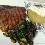 Steak mit Maronen und Folienkartoffel