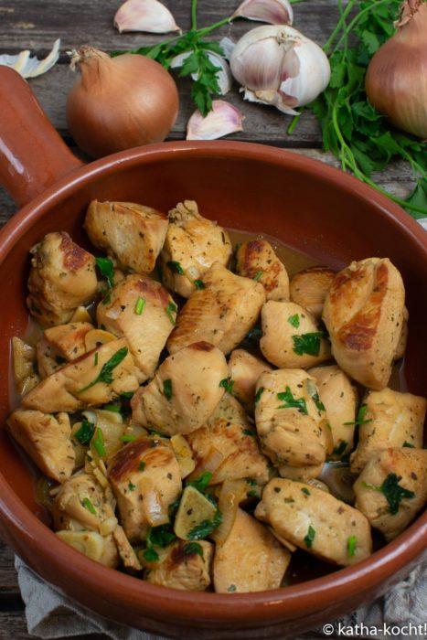 Tapas - Hähnchen in Weißwein-Jus