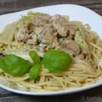 Spaghetti mit Hähnchen und Wirsingkohl