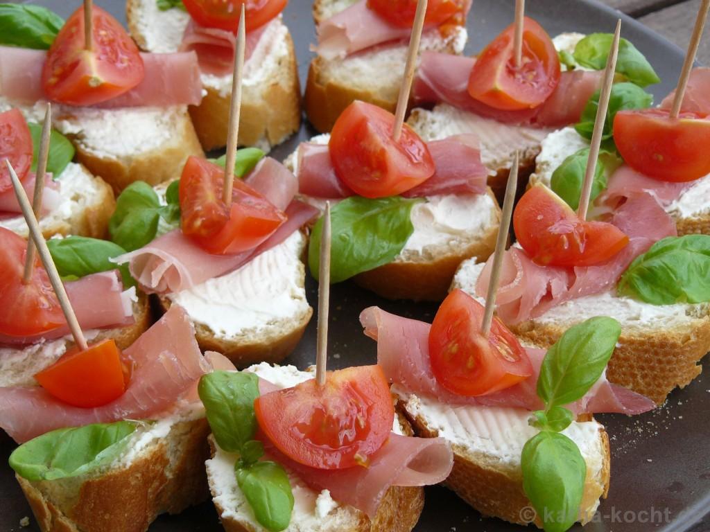 Tapas - Tomaten-Parmaschinken Schnittchen