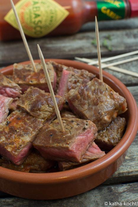Tapas - scharfe Steak Häppchen