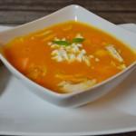 Süßkartoffel-Melonen Suppe mit Huhn