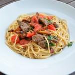 Spaghetti mit Rinderfilet und Pfifferlingen