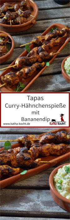 Tapas rote Curry-Hähnchenspieße mit Bananendip