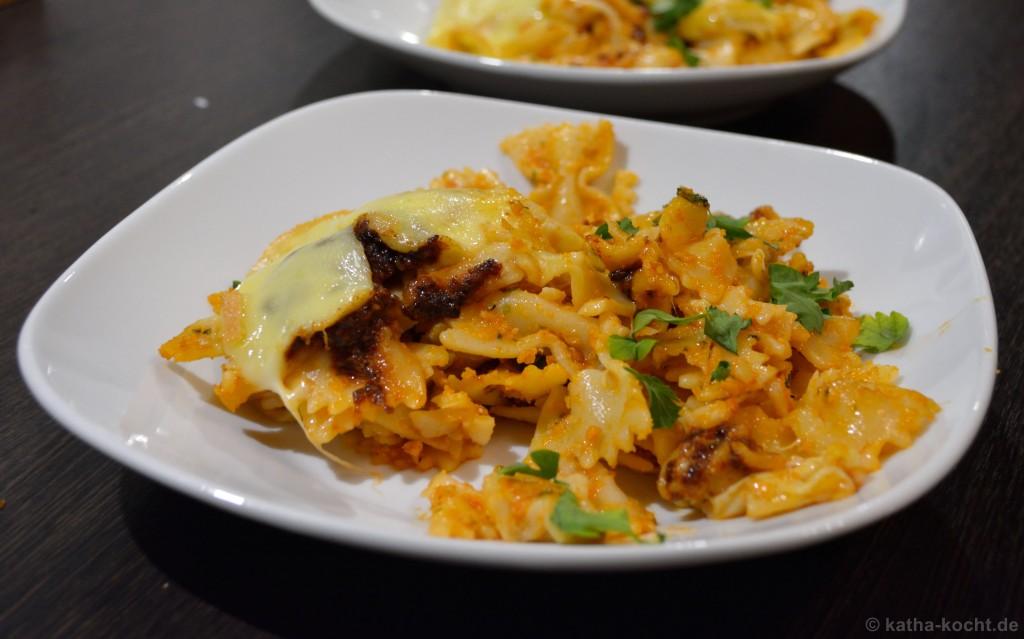 Pesto-Farfalle_Auflauf_mit_Raclette_Käse_4