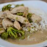 Grünes Putencurry mit Reis