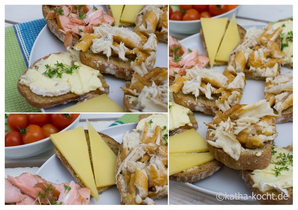Ideen zum Abendbrot - Räucherfisch und Käseschnitten