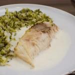 Gebratener Cobia mit Brokkoli-Reis