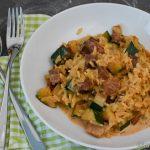 Reispfanne mit Zucchini und Speck