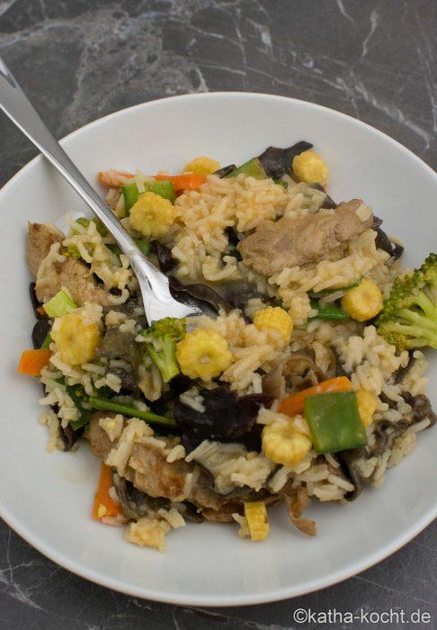 Curry-Kokos Wokpfanne mit Schweinefleisch