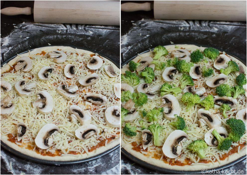 Pizza mit Brokkoli und Räucherlachs