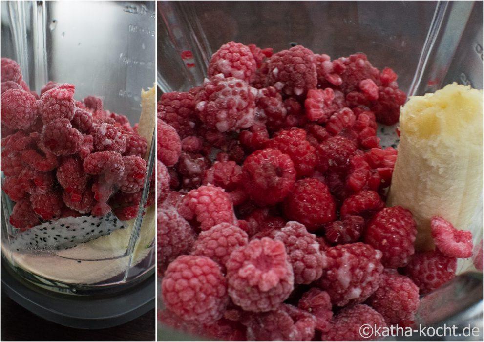 Rosa Smoothie mit Drachenfrucht und Himbeeren