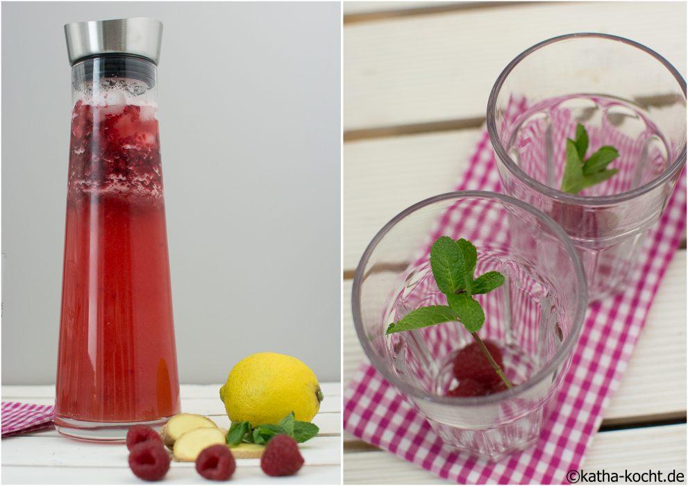 Ingwer Limonade mit HImbeeren