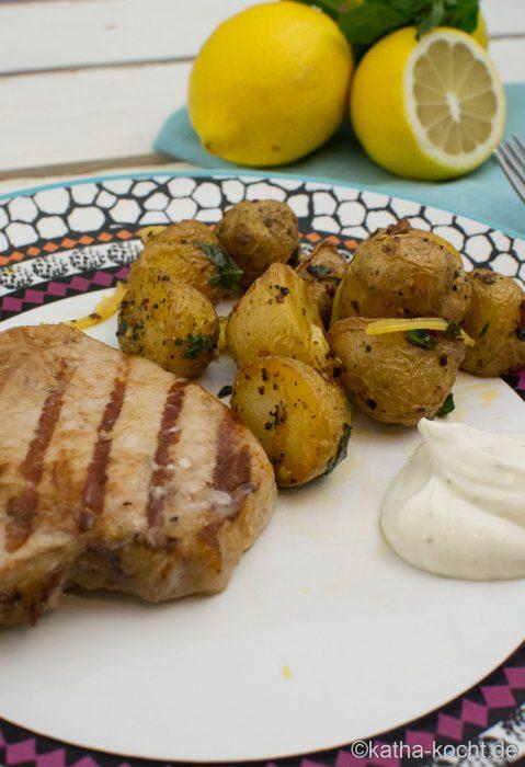 Schweinekoteletts mit Zitronen Kartoffeln