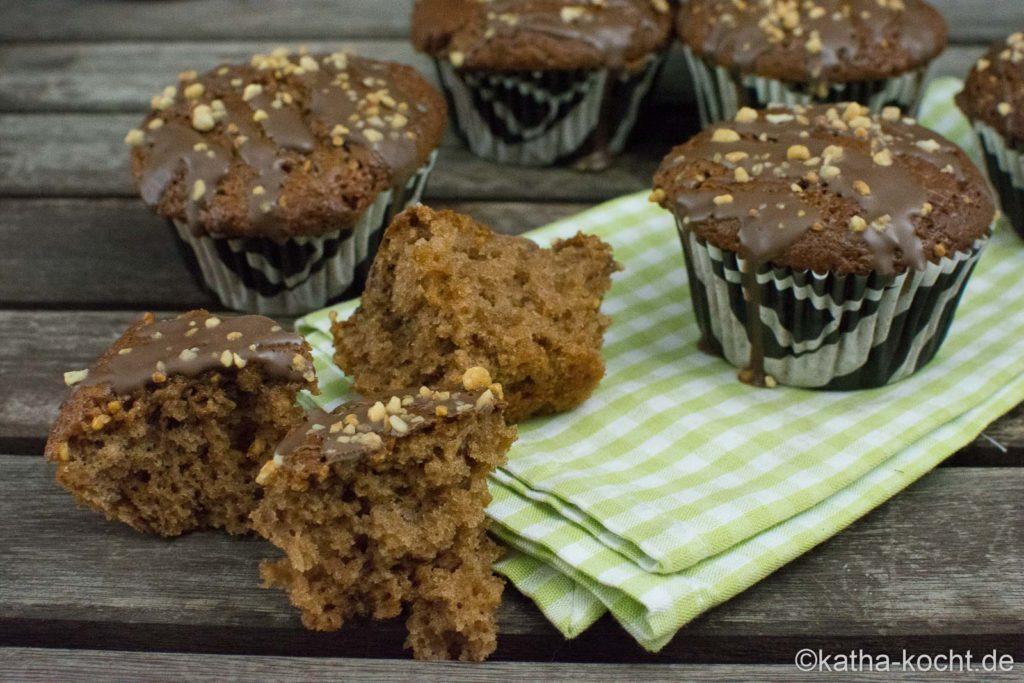 Nutella Muffins mit Haselnusskrokant