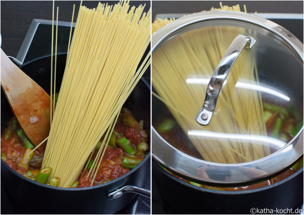 One Pot Pasta mit Spargel-Sugo