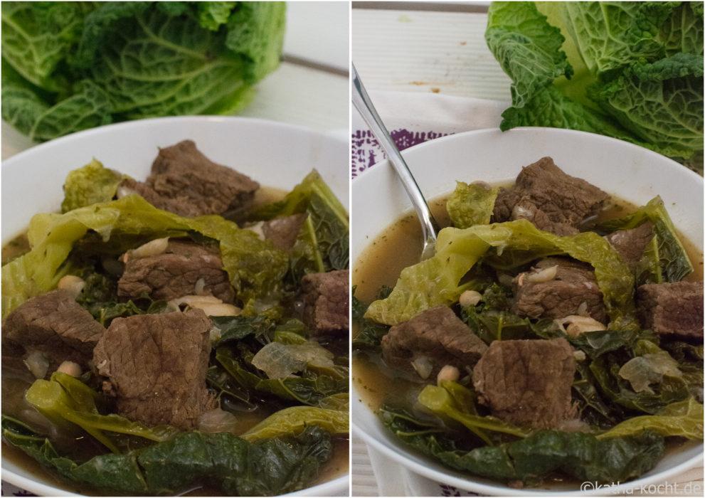 Rindfleisch-Wirsing Eintopf mit Bohnen