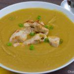 Butternutkürbis Suppe mit Hähnchenbrust