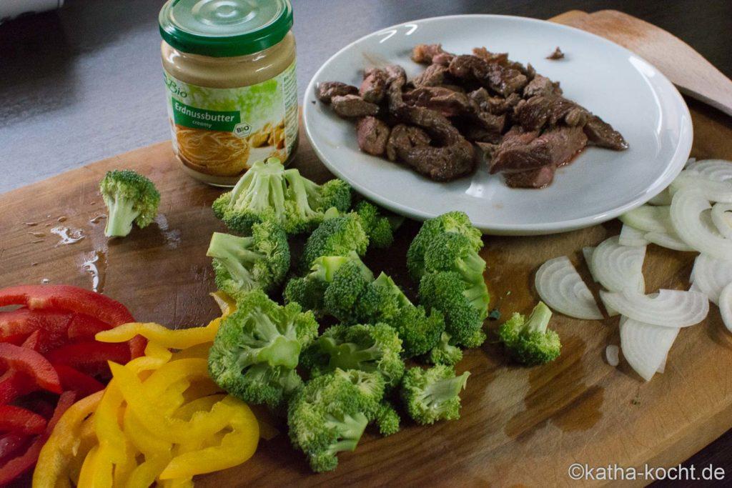Rindfleisch mit Wokgemüse und Glasnudeln