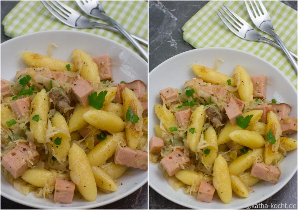 Schupfnudelpfanne mit Sauerkraut und Leberkäse