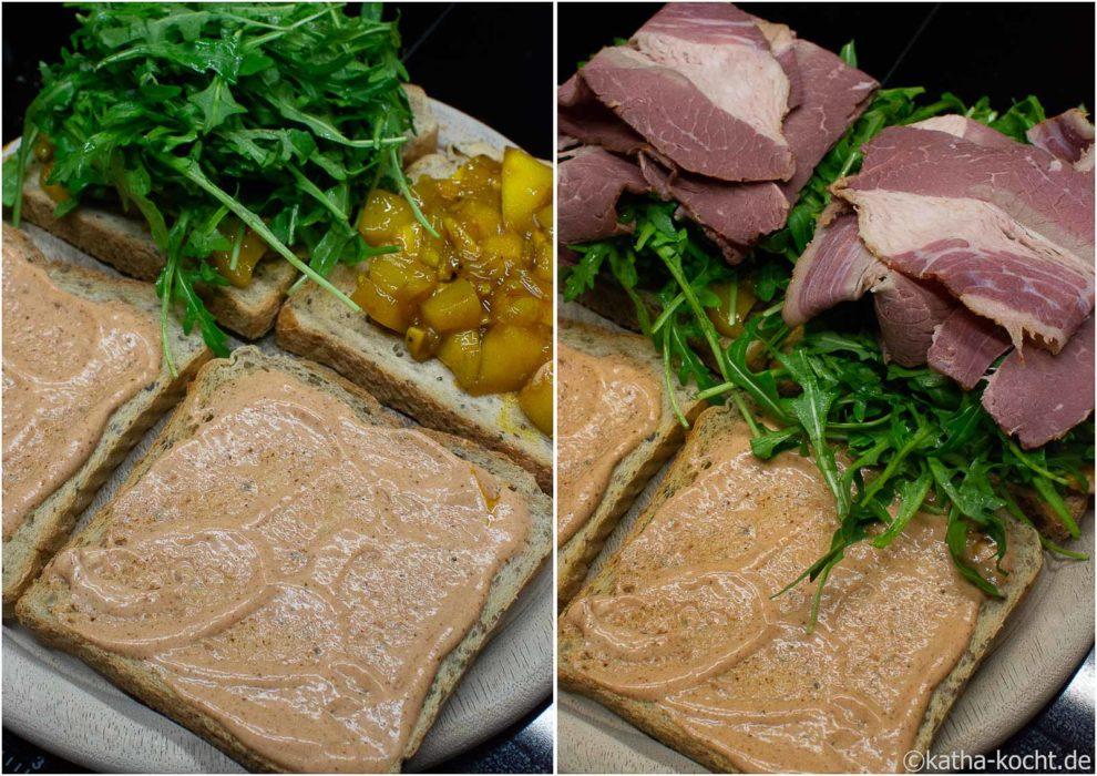 Pastramisandwich mit Mangochutney