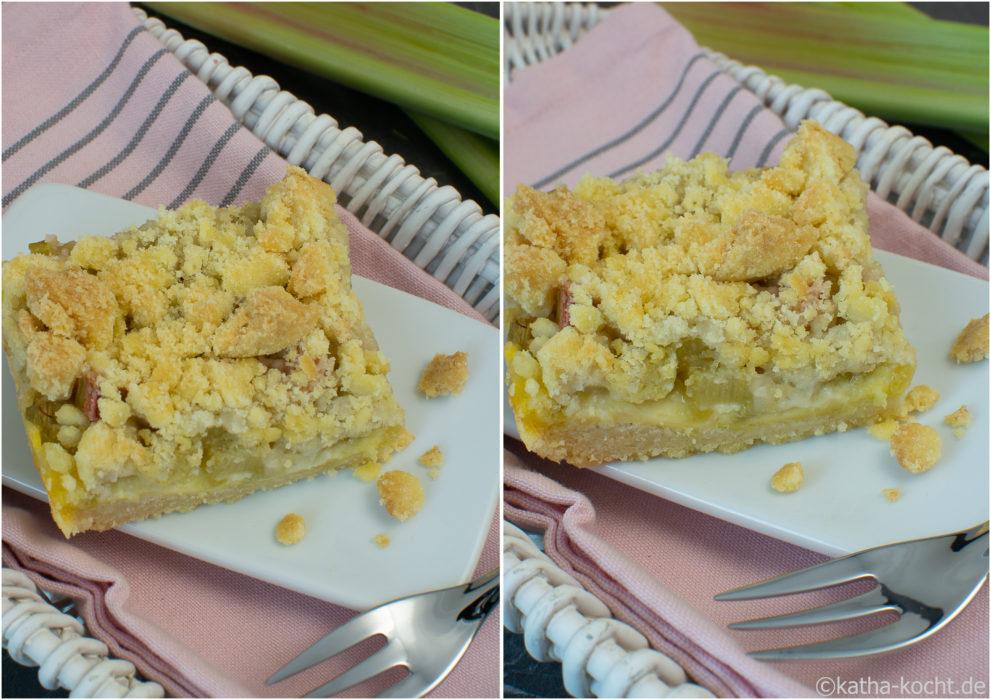 Rhabarber Streuselkuchen Mit Puddingfullung Und Streuselboden