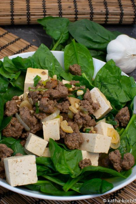 Scharfer Hackfleisch-Tofu Topf