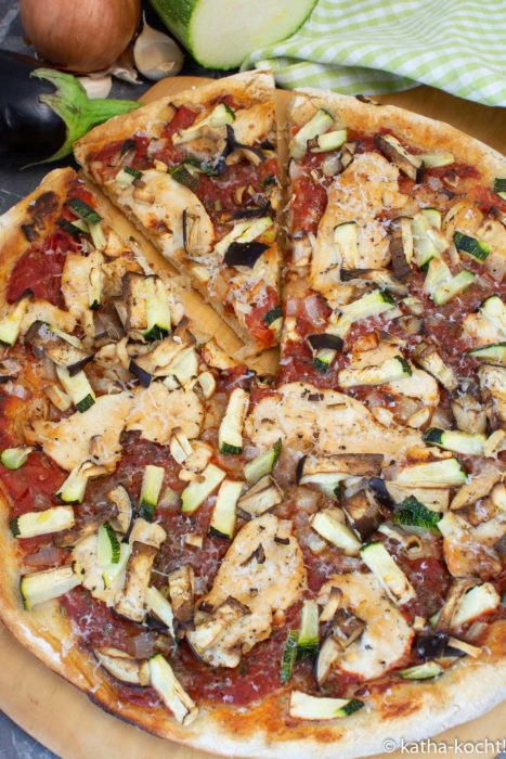 Pizza Hähnchen-Ratatouille