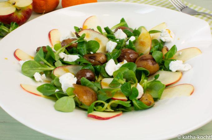 Wintersalat mit Apfel und Maronen