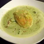 Mangold Suppe mit Ingwer und Saiblingsfilet