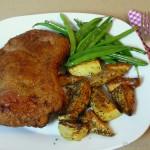 Rinder Cordon-Bleu mit Bohnen und Kartoffeln