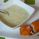 Sellerie-Apfelcréme Suppe mit Räucherlachs