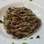 Spaghetti mit Blutwurst Sauce