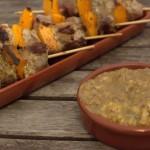 Tapas – Schweinespieße mit Kürbis und Tomatendip