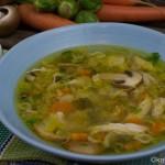 Suppenhuhn mit Rosenkohl
