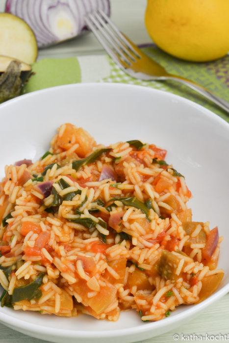 Auberginen-Reispfanne