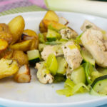 Hähnchenpfanne mit Lauch und Zucchini