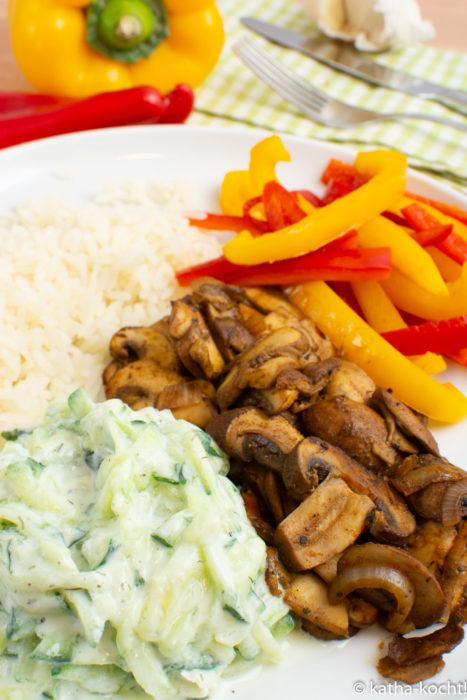 Vegetarisches Pilz-Gyros mit Tsatziki