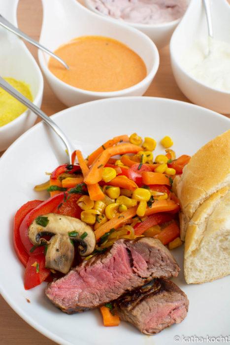 Rinderfilet mit buntem Gemüse - Reste vom Raclette