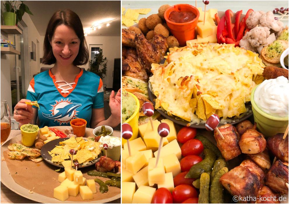 Amerikanisches Fingerfood mit Snacks zum Superbowl - Charcurie Teller - Charcurie Board
