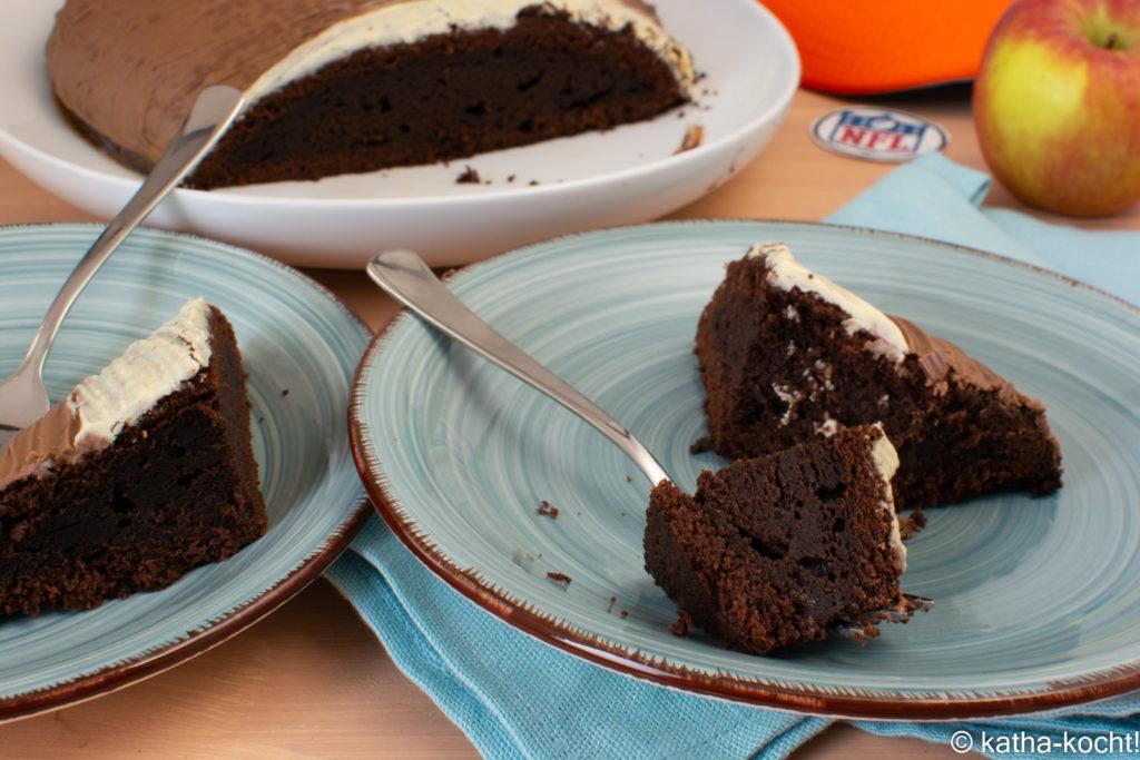 Footballkuchen -Schokoladenkuchen