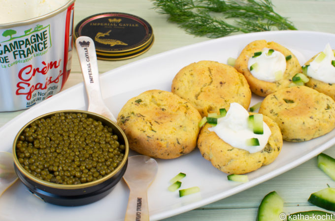 Kaviar mit Kartoffel-Dill Talern